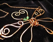 Hammered Copper Dragonfly Necklace with Copper Link Chain