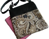 Black Brown Cream Paisley Fabric iPad Kindle Nook Color E Reader Passport Travel Messenger Bag Sling Washable