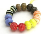 Lampwork Mini Beads - 7 Pairs - CLOSEOUT SALE Coral Lavender Yellow Gray Sage