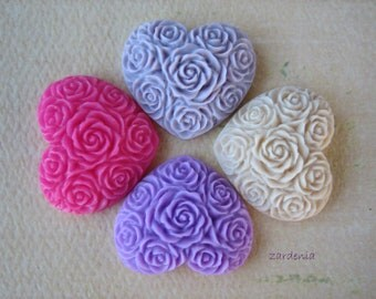 4PCS - Heart Flower Cabochons - Resin - Purples, Pink and Creme Brulee - 19x21mm - Cabochons by ZARDENIA
