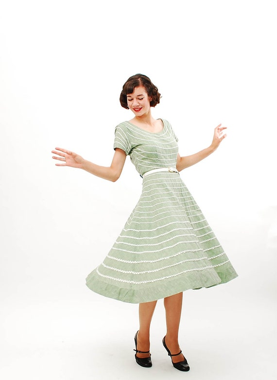 Vintage 1950s Summer Dress - 50s Day Dress - Sage Green Chambray