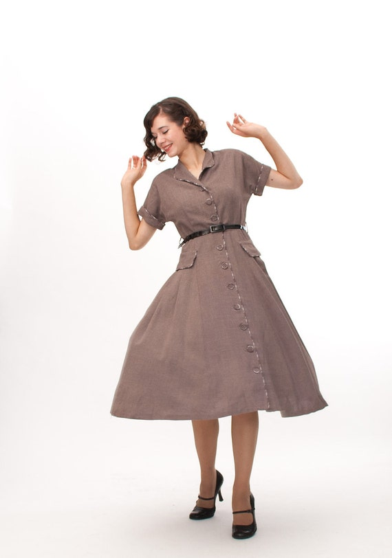 Vintage 1950s Fall Dress - 50s Wool Dress - Hasbrouck Brown