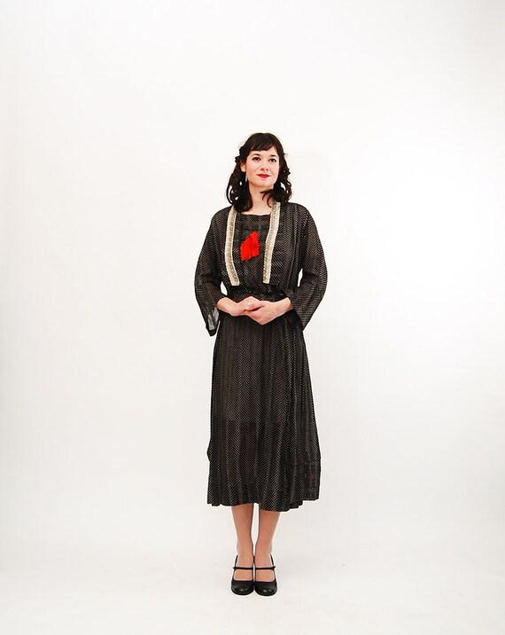 Clearance - Vintage 1910s Dress - Edwardian Dress - Black and White Polka Dot