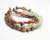 Triple Strand Mixed Gemstone Bracelet, Unakite, Green Garnet, Red Goldstone, Bangle, Chakra