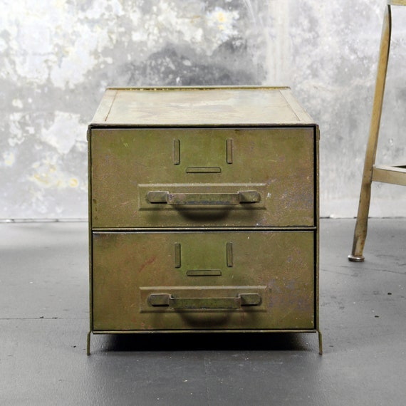 vintage industrial green metal drawer unit