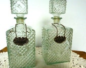 Pair Glass Decanters  w Medallion Tags