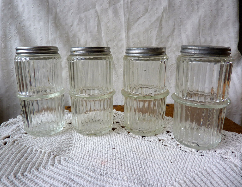 4 Hoosier Cabinet Spice Jars Ribbed Depression Glass