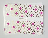 Thank You Card - Gold Foil & Fuschia Letterpress