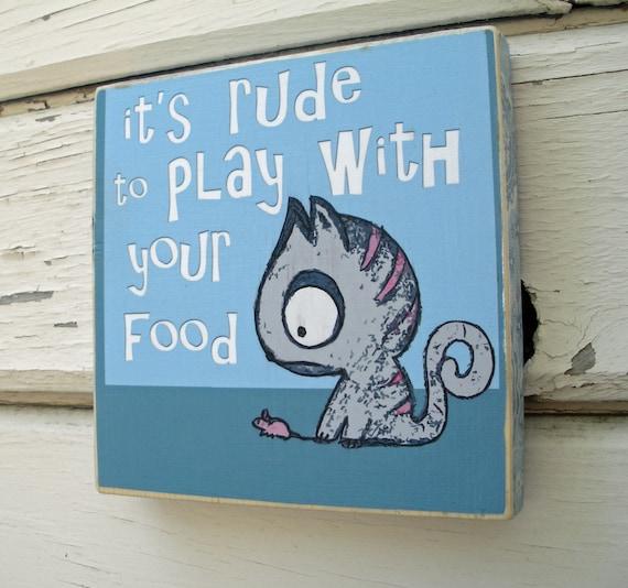 Rude Kitty Wall Plaque -Funny Wall Art - Mixed Media Wood