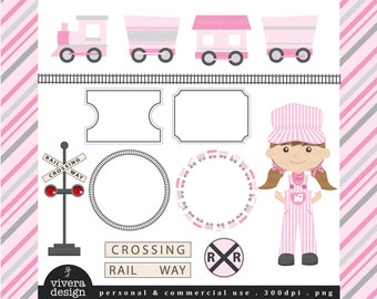All Aboard the Party Train Clip Art - in Silver and Pink - For Girls