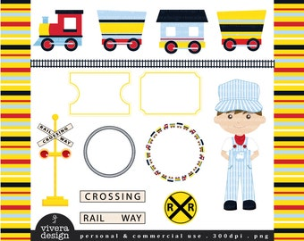 Party Train Clip Art - Yellow, Red, Navy, and Baby Blue