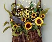 Fall Wreath - Wreath for Door - Door Basket - Primitive Sunflower Basket - Crow and Sunflower Basket
