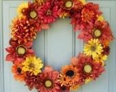 Fall Wreath - Autumn Door Wreath - Fall Wreath for Door - Autumn Sunflower Wreath