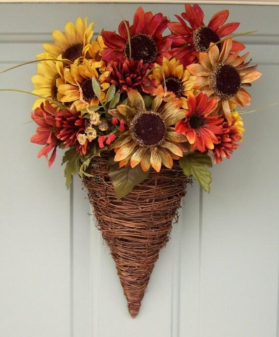 Fall Wreath - Wreath for Door - Fall Door Wreath - Summer Wreath - Sunflower Wreath - Sunflower Door Basket