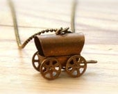 For vintage lovers -Vintage Copper Covered Wagon Necklace