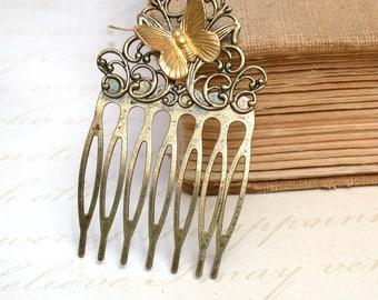 Hair Comb -  Sweet Vintage Brass Butterfly On A Hair Comb  Antique Victorian Style