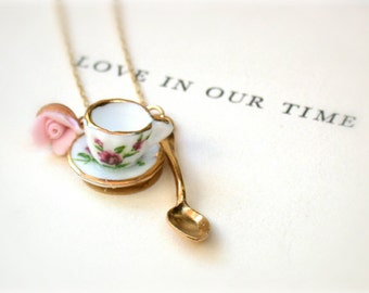 My  Cup Of Tea - Handmade Porcelain Mini Tea Set  Necklace - For The Vintage Romance Lovers- A Piece Of Nostalgia