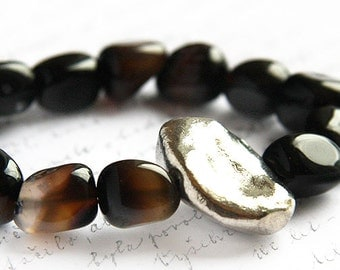 Boho Jewelry Natural Dark Brown Black Agate Bracelet Chunky Stone Nugget Large Sterling Silver and Black Luxury Bracelet Statement Bracelet