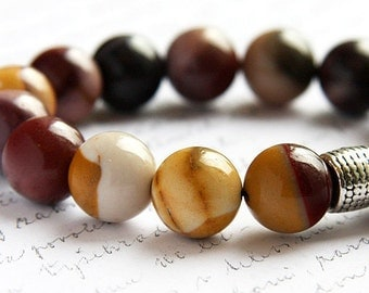 Bohemian Jewelry, Colorful Mookaite Jasper Stone Bracelet. Silver Bali Bead. Natural Bright Blend of Yellow and Earth Red. Australia