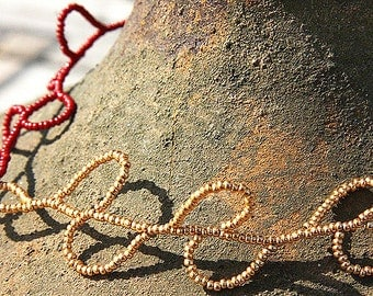 Dark Red and Gold Seed Bead Necklace. Teardrops Raindrops Drops Doodling Drawing.
