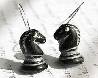 Chess Earrings, Black Horse Earrings, Sterling Silver Earrings, Glass Earrings, Chess Piece, Black Knight Earrings, Animal Earrings