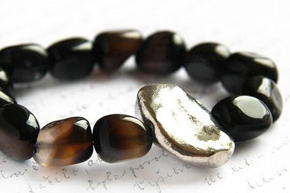 Dark Brown Black Agate Bracelet. Chunky Stone Nugget. Large Sterling Silver Stacking Bracelet. OOAK Statement Bracelet. Boho