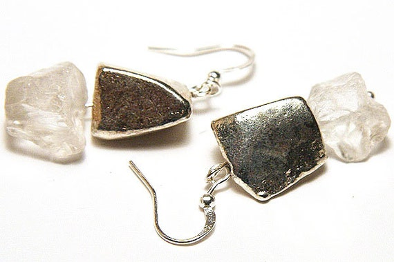 RAW Rock Quartz and Sterling Silver Nugget Earrings. Simple Modern Minimalist Earrings. High Fashion. Handmade in Canada. TAGT