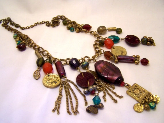 Old Gold and Art Glass  Necklace
