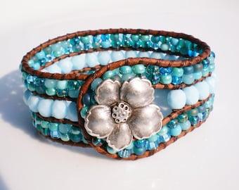Turquoise Jewelry Czech Glass Bracelet Leather Beaded Cuff Flower jewelry