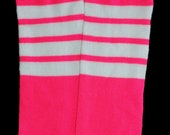 CLEARANCE SALE Baby Leg Warmers Hot Neon Pink with White Stripes Fits Most Infants Toddlers and Children Perfect for Boys and Girls