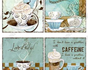 Coasters Digital Art Deja' Brew - coffee art AJR-143b, 4 inch square cards cappucino latte mocha java blue brown scrapbooking