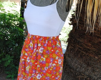 Vintage 1970's Bright Floral Paisley Skirt
