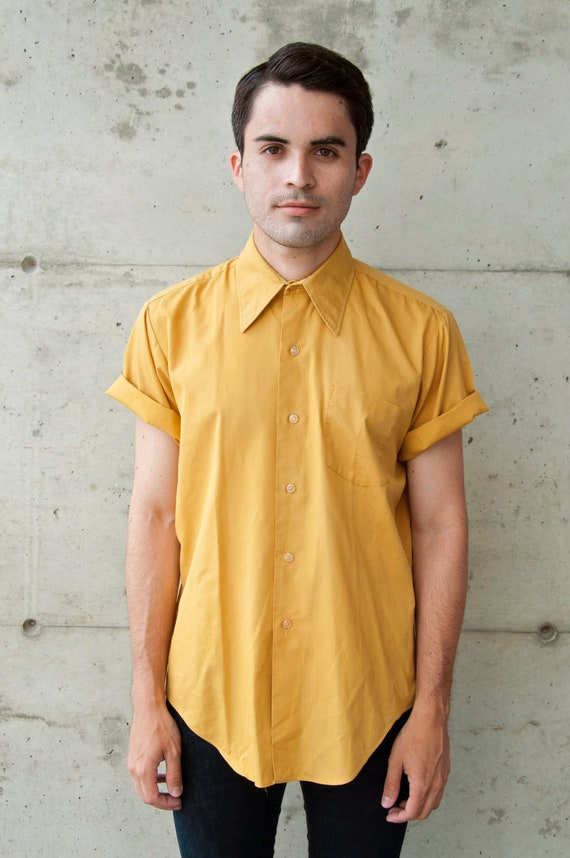 Vintage short sleeve Mustard Yellow Dress shirt for Men