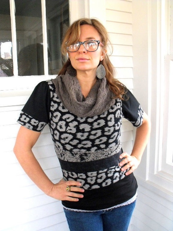 SALE,Eco Cowl Neck T SHIRT, Upcycled clothing, repurposed fabrics, patchwork,black and putty mix, size S/M by Zasra