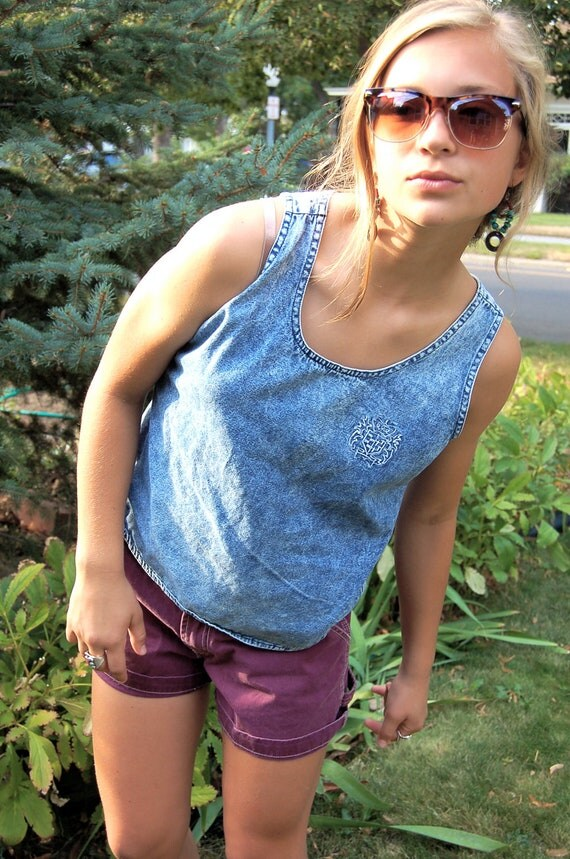 Vintage tank top, clothing,swag, stonewashed denim, simple,festival, boho, hippie,  relaxed fit,size 11/12 by Zasra