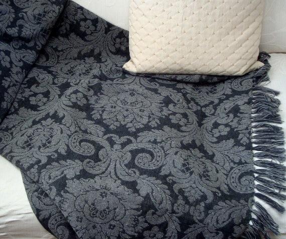 Charcoal Gray Damask Throw Blanket