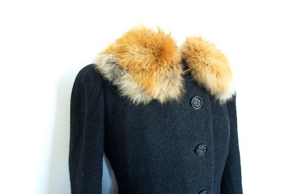 Sale,Vintage 1940s BLACK WOOL Princess Coat With FOX Fur Collar