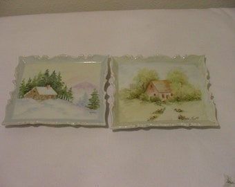 Set Of 2 Vintage Hand Painted Porcelain Pictures      12-  465