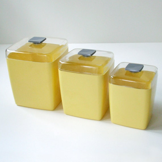 Vintage Canary Yellow Atomic Age Plastic Kitchen Canisters