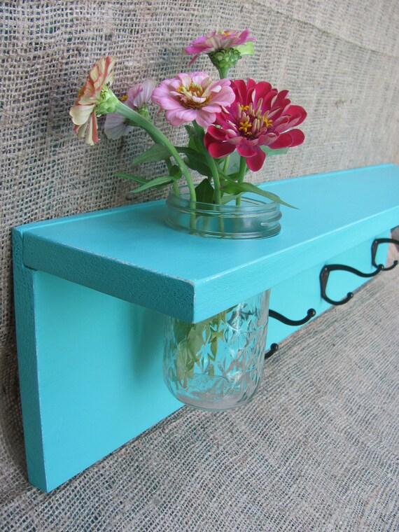 Aqua Wood Wall Shelf With Coat Hooks and Mason Jar Vase