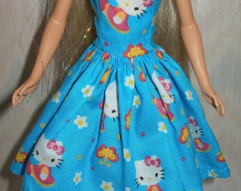 "Handmade 11.5"" fashion doll clothes - blue, pink and white kitty dress"
