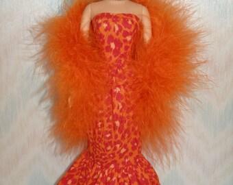 "Handmade 11.5"" fashion doll clothes - orange animal print gown with orange boa"