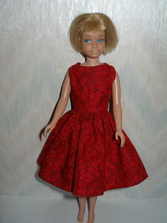 Handmade skipper clothes - red print dress