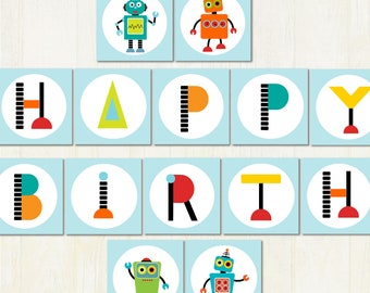 Printable Robot Party Banner, Robot Bunting, Robot Party Flags, DIY. Instant Download