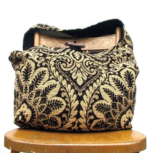 BOHO BAG Crossbody Bag Diaper Bag Hobo Purse Bohemian Bag Crossbody Hobo Bag Cross Body Bag Black and Gold