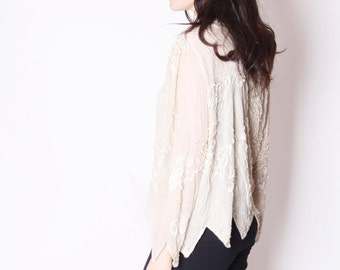 White Sequin Top /  Sequin Tops / Sequin Blouse / Vintage Sequins / Sparkly Vintage / Gatsby  / 2296