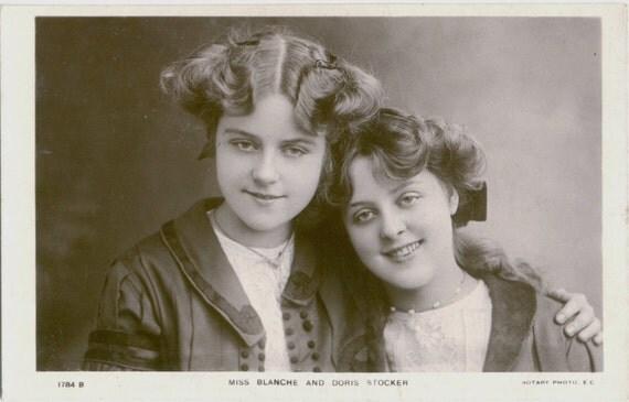 Antique Real Photo Postcard - Edwardian Actresses Blanche and Doris Stocker