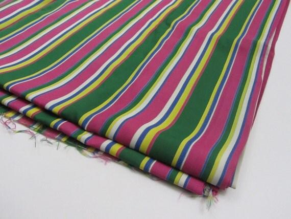 1930s 1940s Fabric Rayon Dress Yardage in Green & Pink Stripe