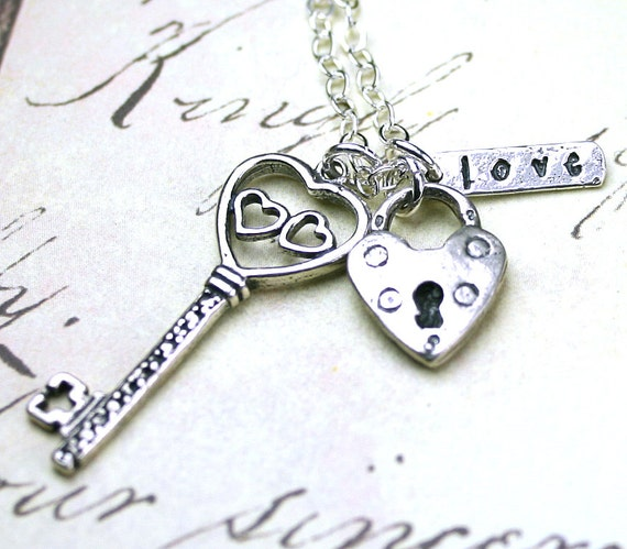 Key To My Heart Necklace - Silver Lock and Key Pendant - Handmade with All Sterling Silver