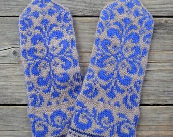 Beige Mittens with Flowers - Baroque Mittens - Winter Accesories - Gift Ideas - Fashion Mittens - Boho Gloves  77.